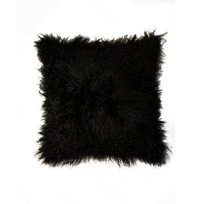 Mongolian Black 18 in. x 18 in. 100% Sheepskin Pillow