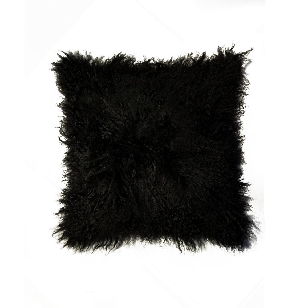Mongolian Sheepskin Black Solid 18 in. x 18 in. Throw Pillow