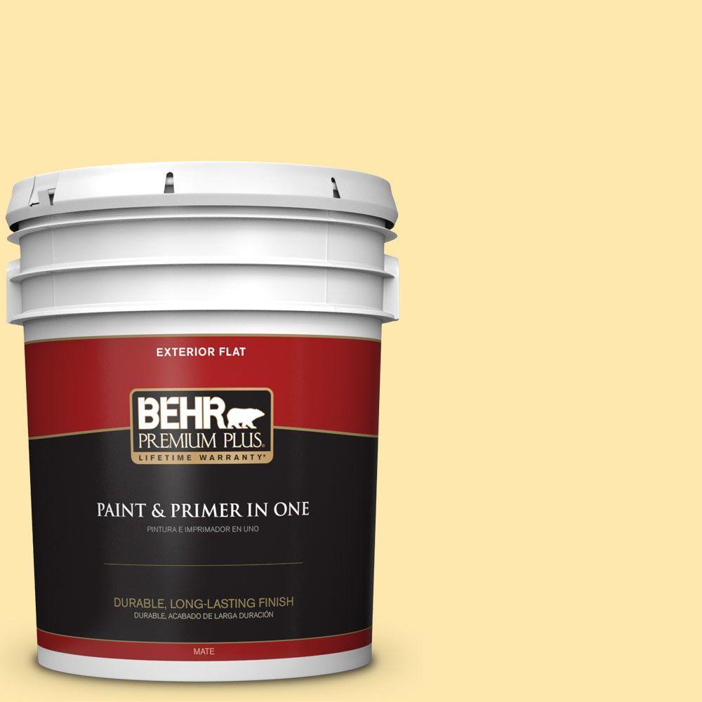 BEHR Premium Plus 5-gal. #350B-4 Lemon Souffle Flat Exterior Paint