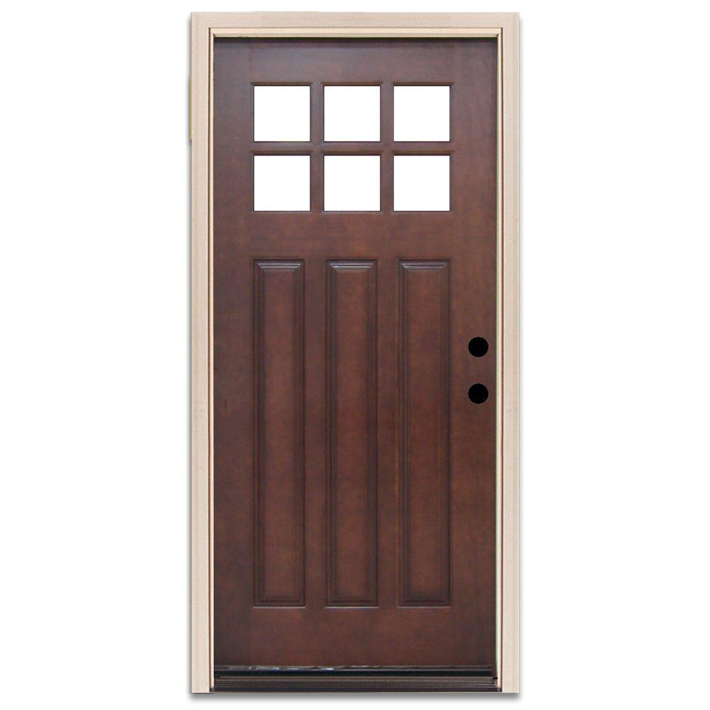 Steves & Sons Craftsman 6 Lite Stained Mahogany Wood Prehung Front Door-DISCONTINUED
