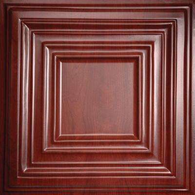 Bistro Faux Wood-Cherry 2 ft. x 2 ft. Lay-in or Glue-up Ceiling Panel (Case of 6)