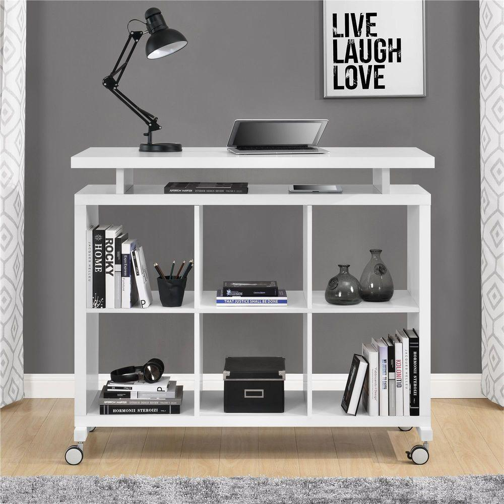Altra Furniture Lincoln White Standing Desk with Shelves