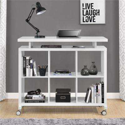 Lincoln White Standing Desk with Shelves
