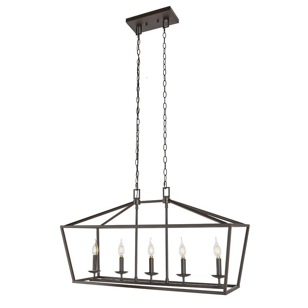 Weyburn 5-Light Bronze Caged Chandelier