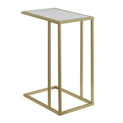 20 in. White Faux Marble/ Gold Urban Industrial Modern Contemporary Transitional Asymmetrical Side Accent Table