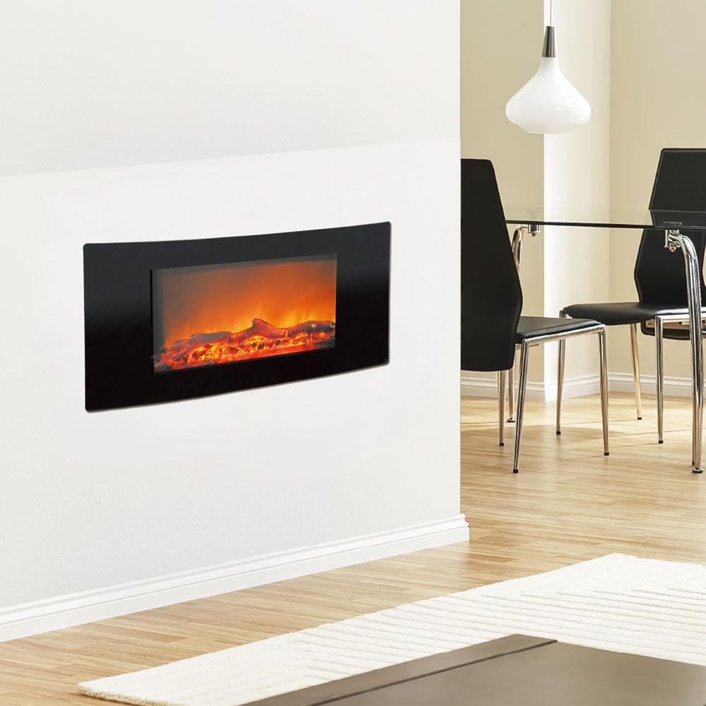 Bring the beauty and warmth of a fireplace to your living space with this Cambridge Callisto Wall-Mount Electric Fireplace in Black.