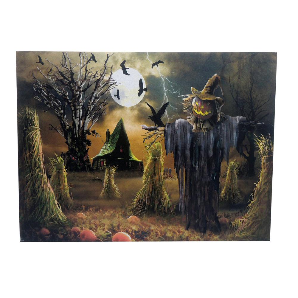 Home accents holiday 20 in x 15 in scarecrow led canvas for Scarecrow home decorations co ltd