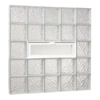 38.75 in. x 38.75 in. x 3.125 in. Ice Pattern Glass Block Masonry Window with Vent