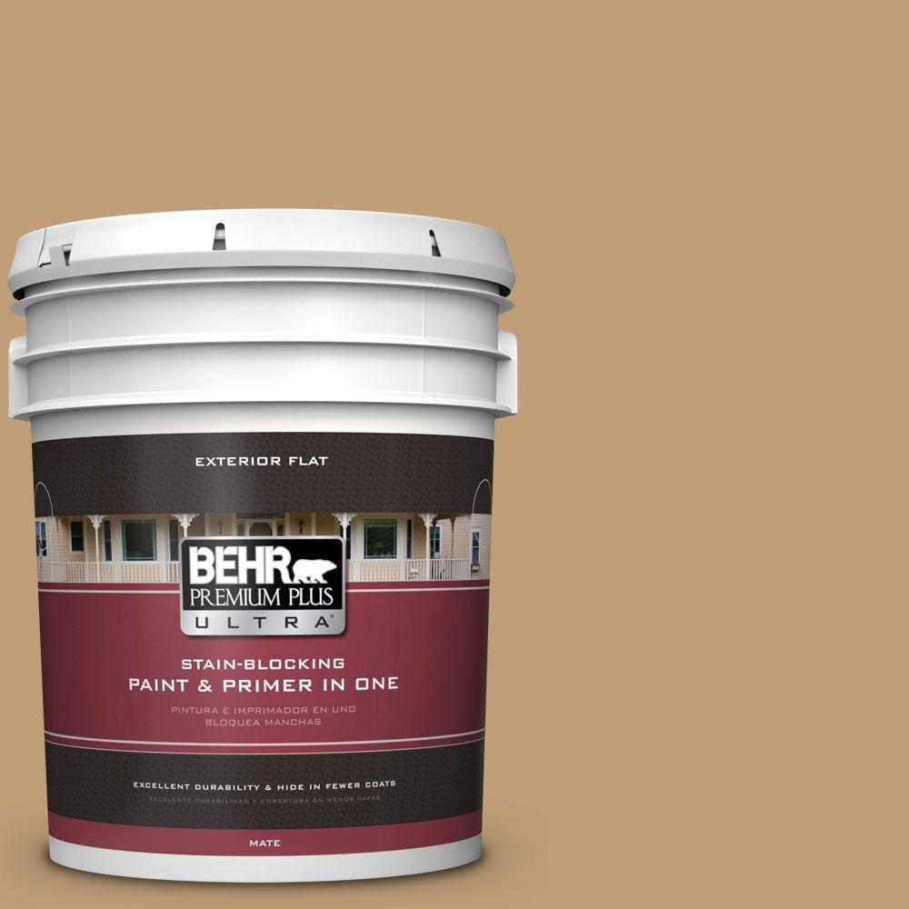 BEHR Premium Plus Ultra 5-gal. #300F-4 Almond Toast Flat Exterior Paint