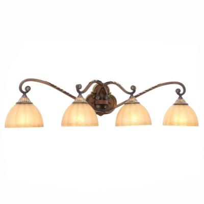 Chateau Deville 4-Light Walnut Vanity Light with Champagne Glass Shades
