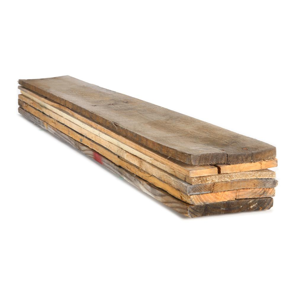 Dimensions 1 in. x 6 in. x 3.5 ft. Reclaimed Pallet Boards (6-Pack)