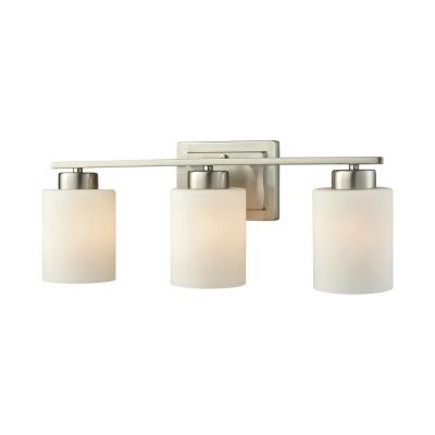 Summit Place 3-Light Brushed Nickel With Opal White Glass Bath Light