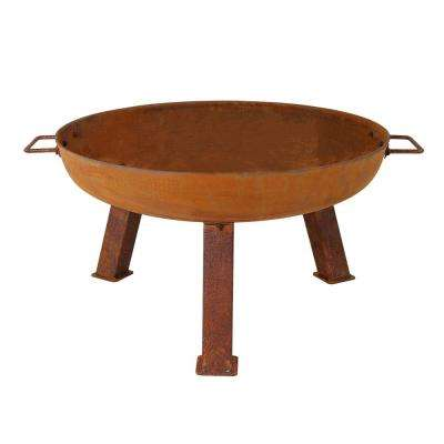 Rustic 24 in. x 15 in. Round Cast Iron Wood Burning Fire Pit Bowl in Rust