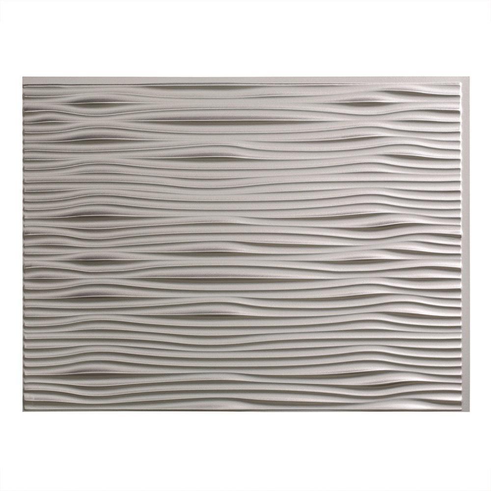 24 in. x 18 in. Waves PVC Decorative Tile Backsplash in Argent Silver