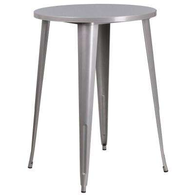 Gray Round Metal Outdoor Bistro Table