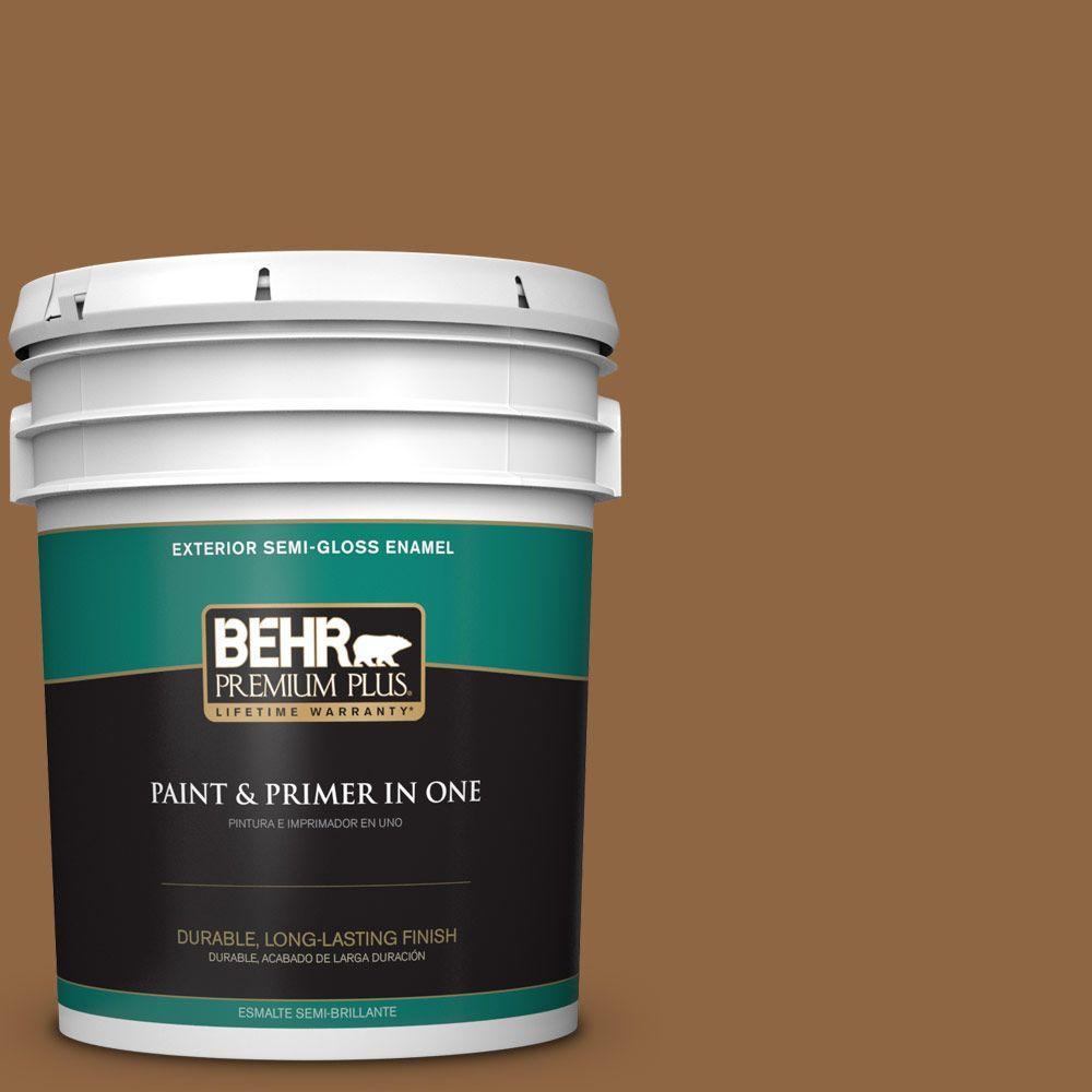 BEHR Premium Plus 5-gal. #270F-7 English Saddle Semi-Gloss Enamel Exterior Paint