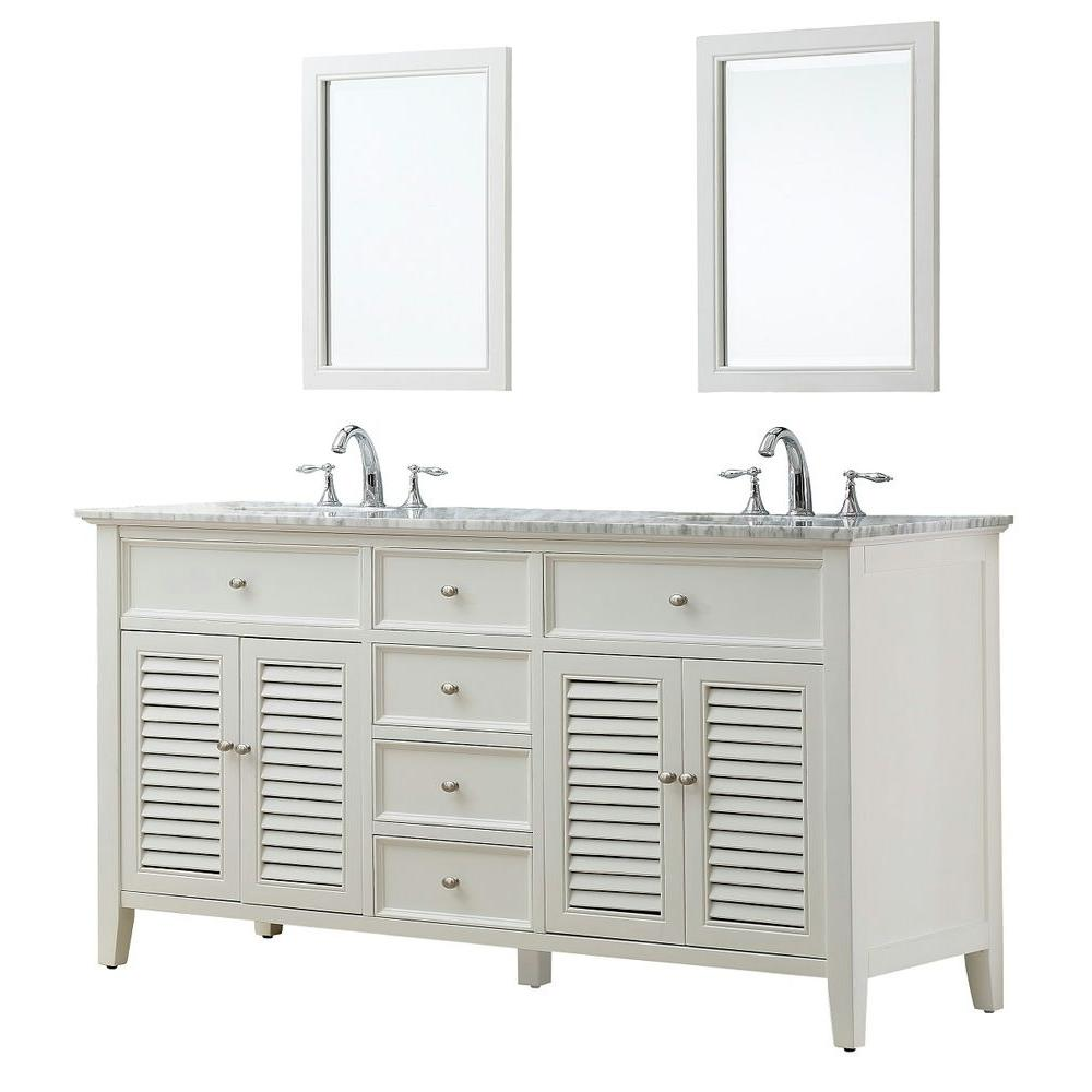 Shutter 70 in. Double Vanity in Pearl White with Marble Vanity