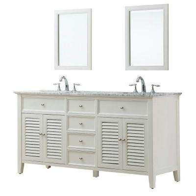 Shutter 70 in. Double Vanity in Pearl White with Marble Vanity Top in Carrara White and Mirror