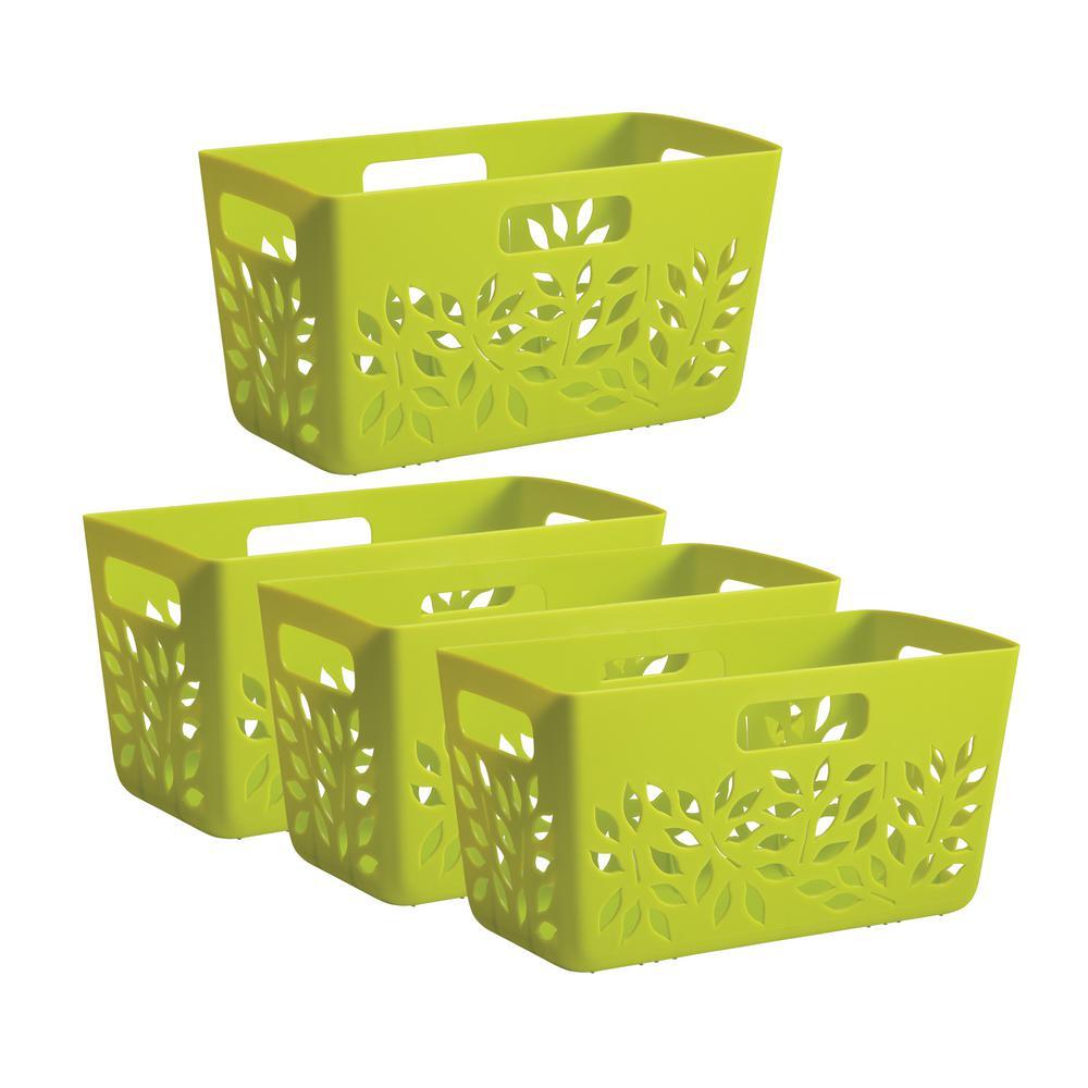 Green Plastic Pantry Basket 4-Piece Set
