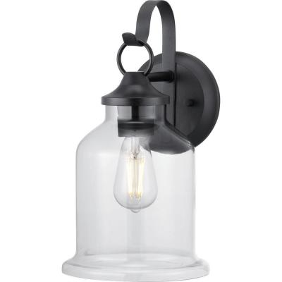 Lindberry 1-Light 14.5 in. Textured Black Outdoor Wall Lantern with Clear Glass