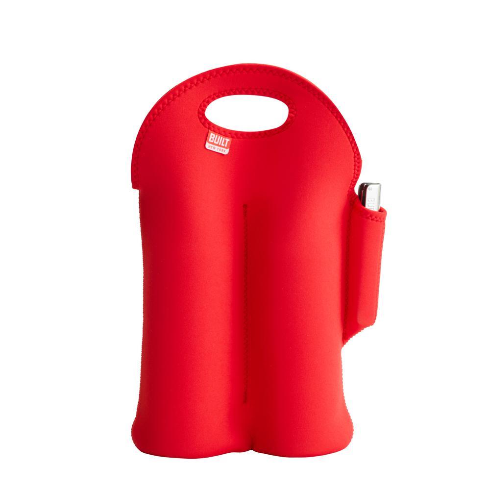 Built Red 2-Bottle Neoprene Wine/Water Bottle Tote with Arch Waiters Corkscrew