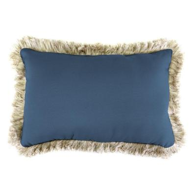 Sunbrella 19 in. x 12 in. Canvas Sapphire Blue Lumbar Outdoor Throw Pillow with Canvas Fringe