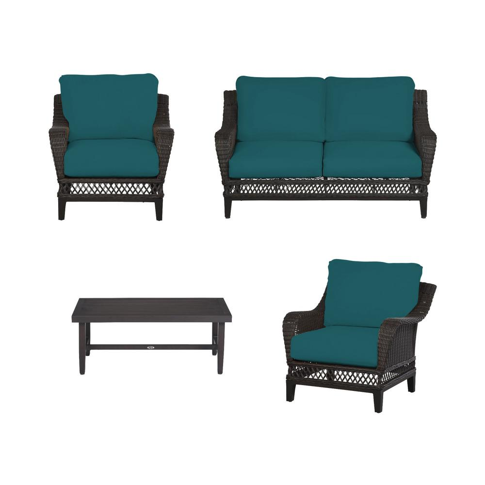 Woodbury 4-Piece Dark Brown Wicker Outdoor Patio Seating Set with Sunbrella Peacock Blue-Green Cushions