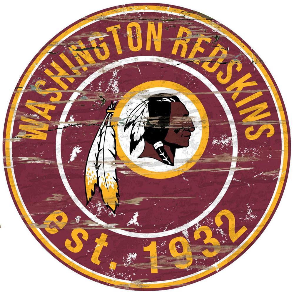 "24"" NFL Washington Redskins Round Distressed Sign"