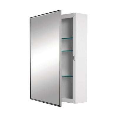 Styleline 18 in. x 24 in. x 5 in. Framed Recessed 3-Shelf Bathroom Medicine Cabinet in Stainless Steel