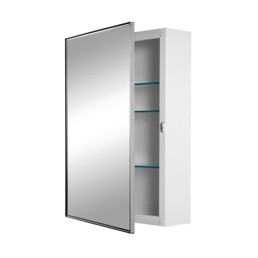 Styleline 18 in. W x 24 in. H x 5 in. D Framed Stainless Steel Recessed 3-Shelf Bathroom Medicine Cabinet