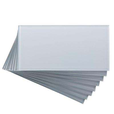 3 in. x 6 in. Glass Decorative Wall Tile in Frost (8-Pack)
