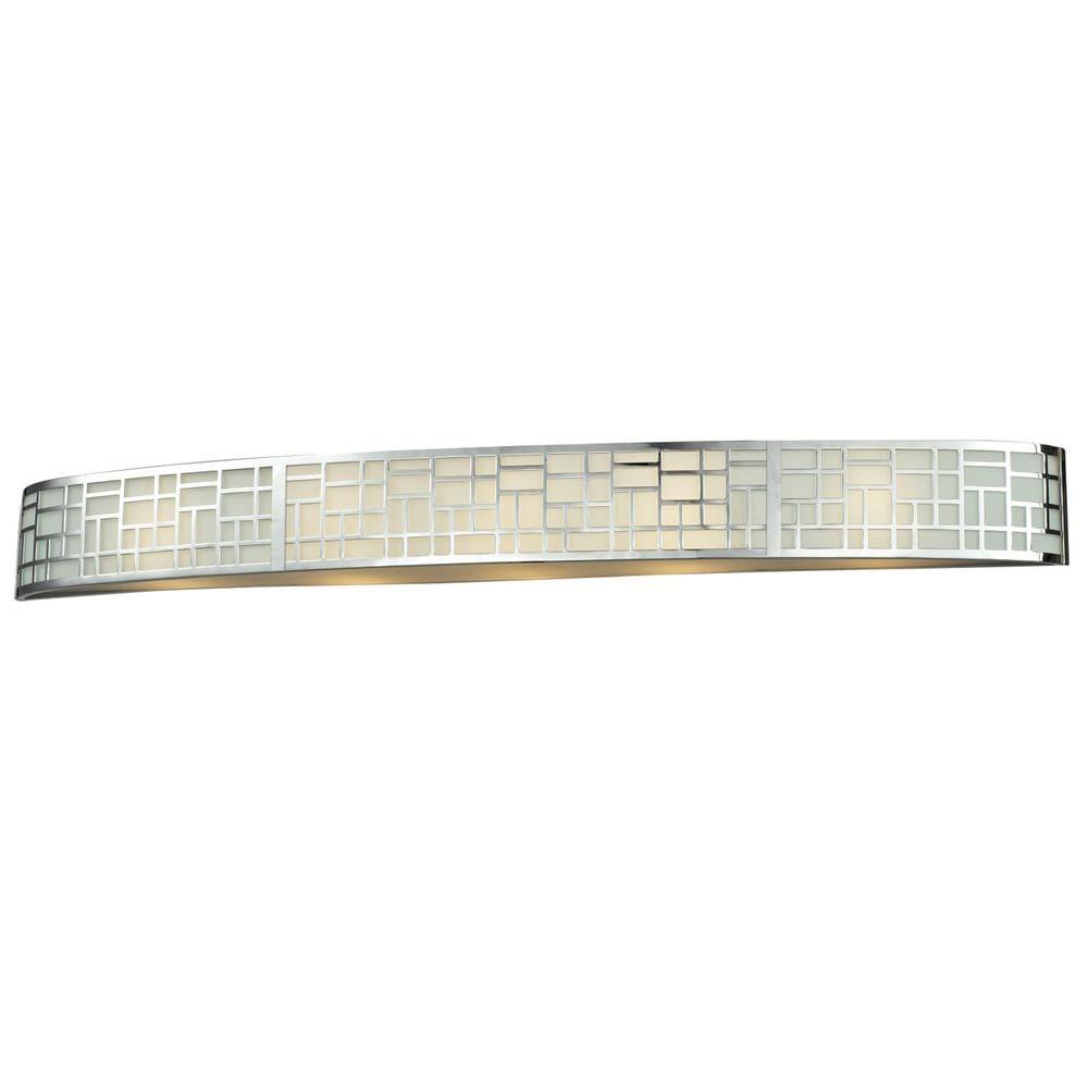 Velia 5-Light Chrome Steel Modern Bath Light with Matte Opal Glass Shades