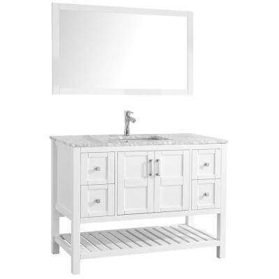 Sophia 48 in. Bathroom Vanity in White with Marble Vanity Top in Cararra White with White Ceramic Basin and Mirror