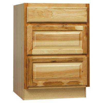 Hampton Assembled 24x34.5x24 in. Drawer Base Kitchen Cabinet with Ball-Bearing Drawer Glides in Natural Hickory