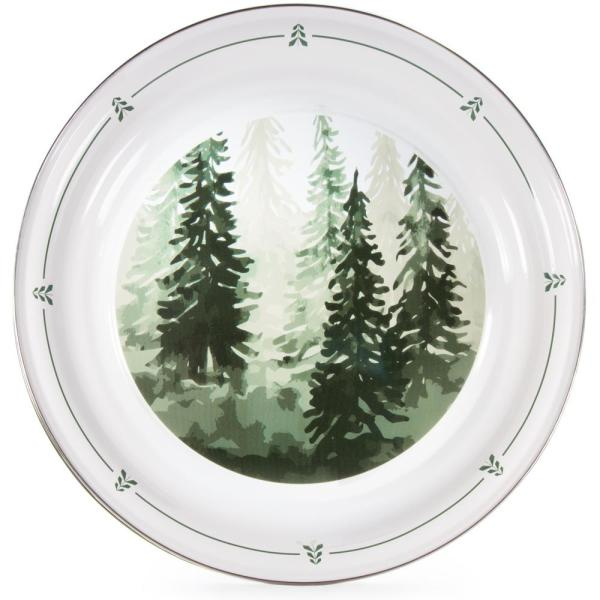 20 in. Dia Round Forest Glen Enamelware Serving Tray