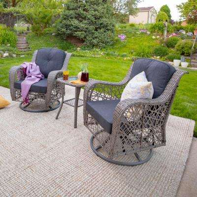 3-Piece Wicker Outdoor Dining Set with Gray Cushions