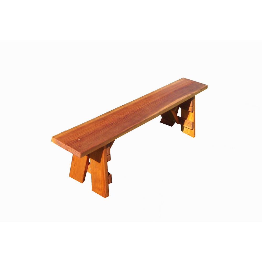 Best Redwood Outdoor 4 ft. 1905 Super Deck Finished Redwood Picnic Bench
