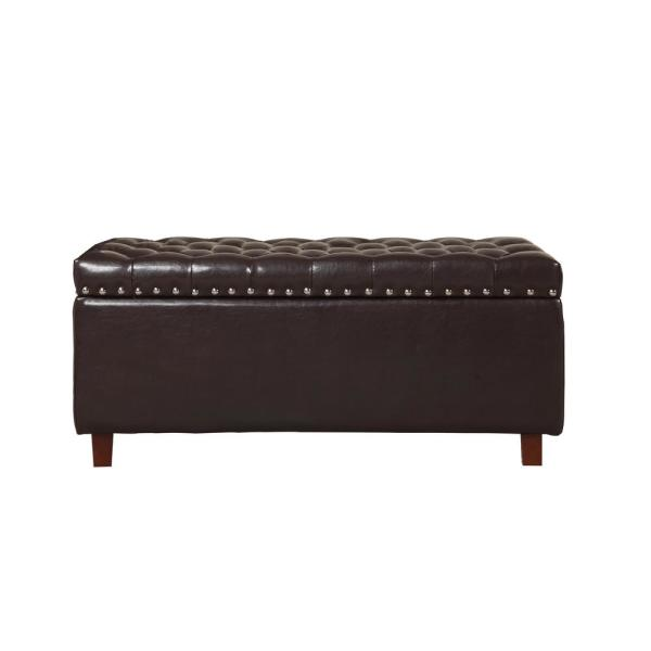 Brown Bonded Leather Storage Ottoman 91018BD-63BR
