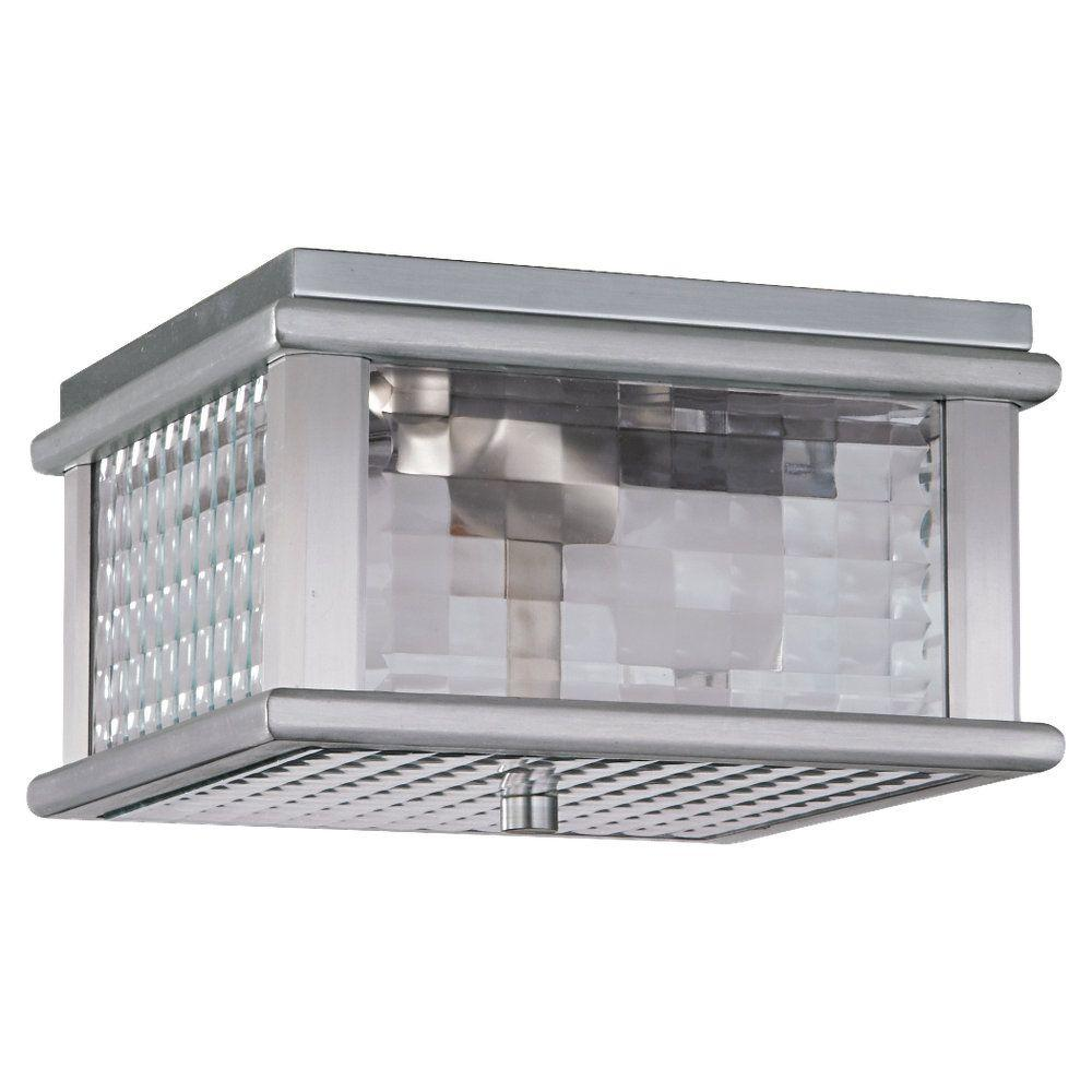Feiss Mission Lodge 2 Light Brushed Aluminum Outdoor