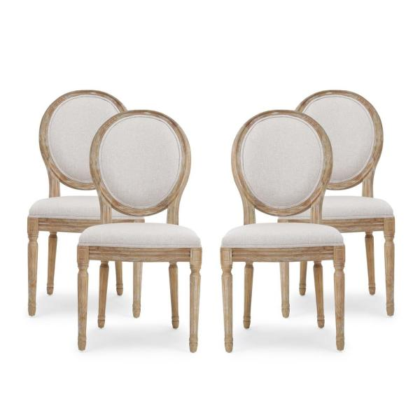 Phinnaeus Beige Fabric Upholstered Dining Chair (Set of 4)