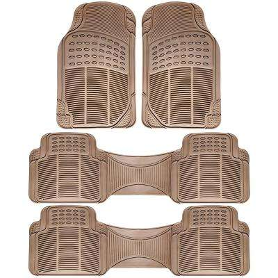 Beige 4-Piece Heavy-Duty 16.5 in. x  50 in. Floor Mats