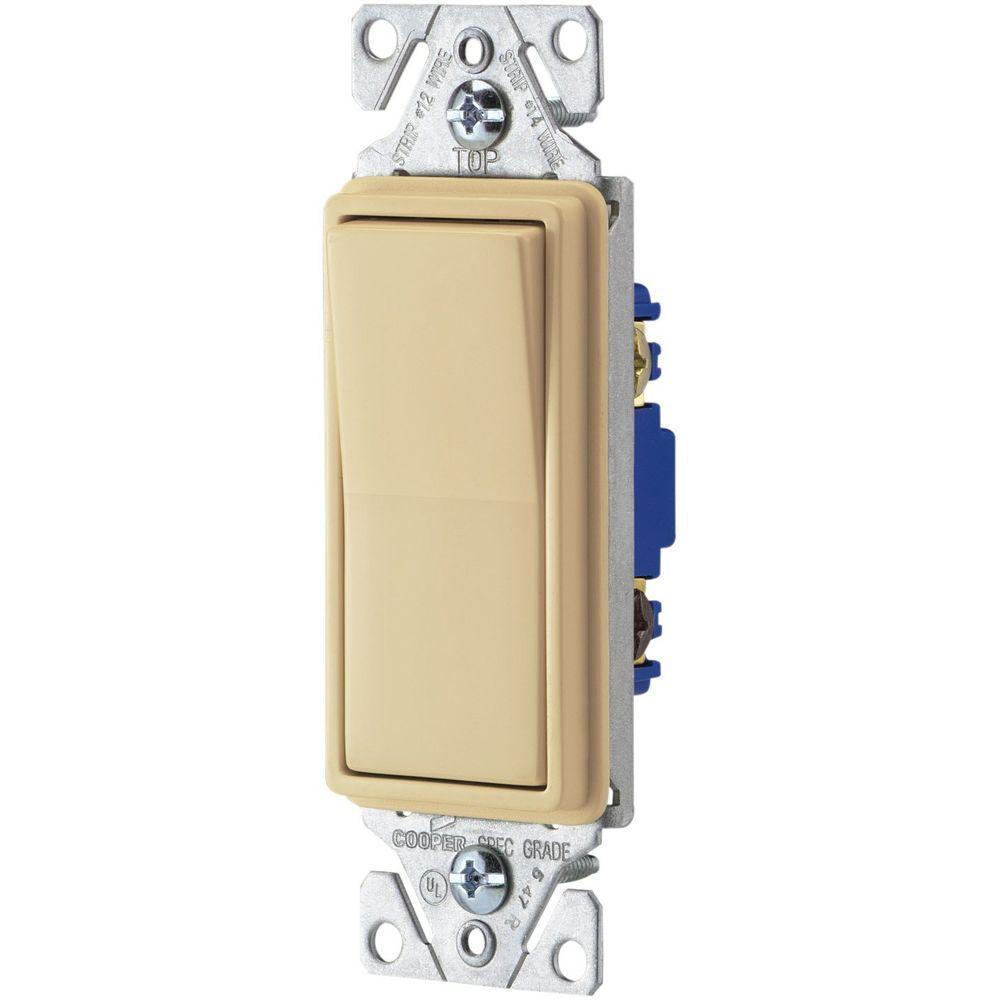 Eaton 15 Amp Decorator 3-Way Light Switch - Ivory