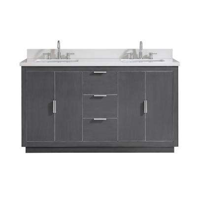 Austen 61 in. W x 22 in. D Bath Vanity in Gray with Silver Trim with Quartz Vanity Top in White with Basins