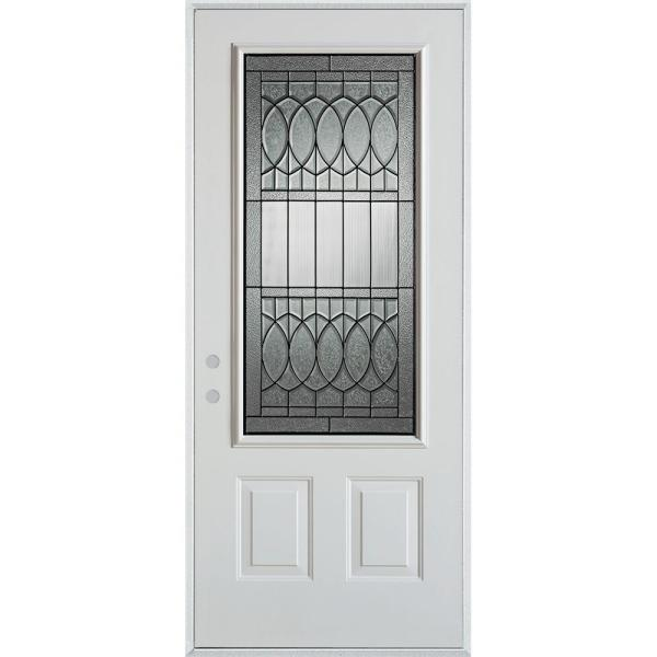 32 in. x 80 in. Nightingale Patina 3/4 Lite 2-Panel Painted White Right-Hand Inswing Steel Prehung Front Door