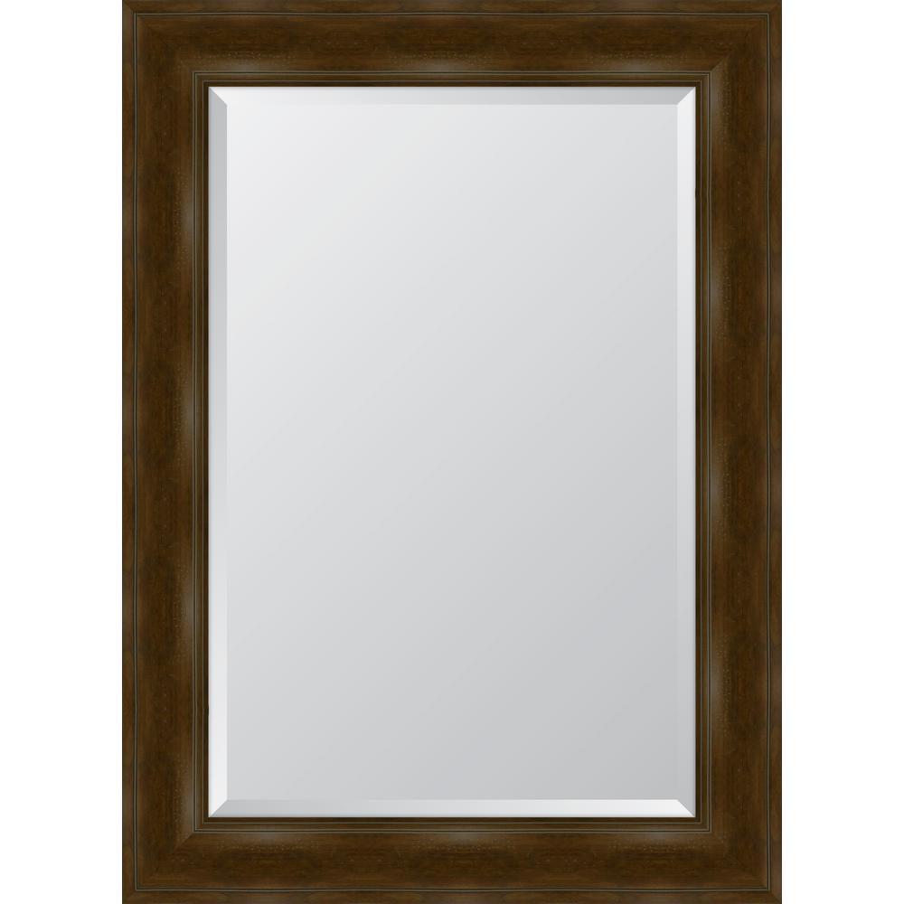 Medium Rectangle Walnut Beveled Glass Classic Mirror (33 in. H x 45 in. W)