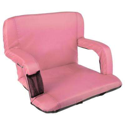 Pink Cushioned Wide Stadium Seat Chair with Carry Straps