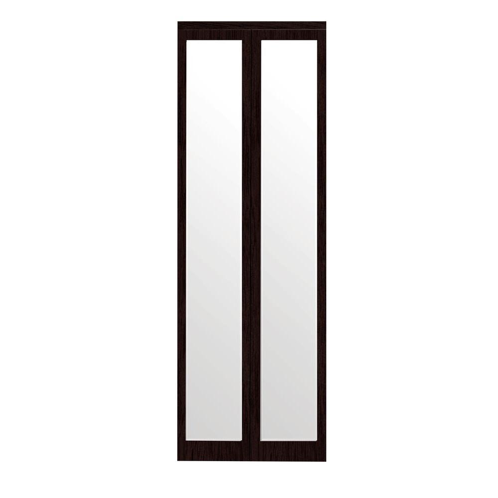 Impact Plus 24 in. x 80 in. Mir-Mel Mirror Solid Core Espresso MDF Full-Lite Interior Closet Wood Bi-Fold Door with Matching Trim