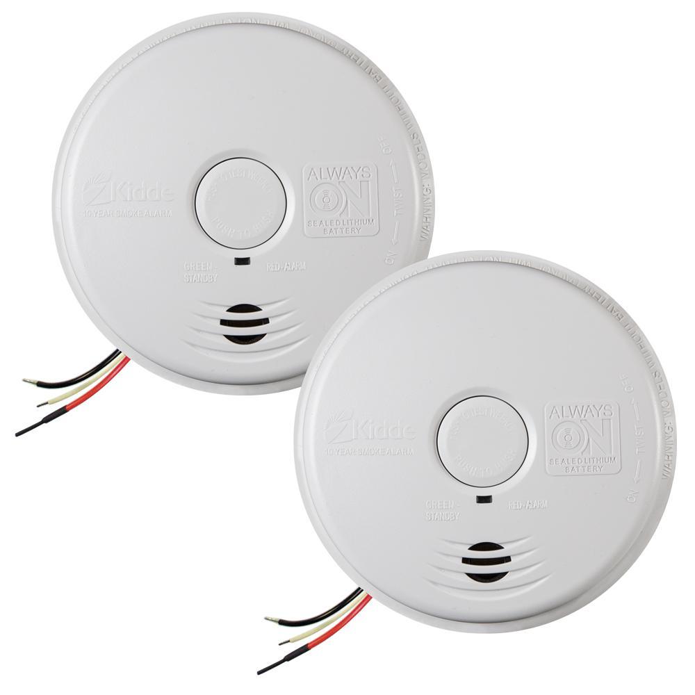 Kidde 120-Volt Hardwired Twin Worry Free Smoke Alarm with 10-Year ...