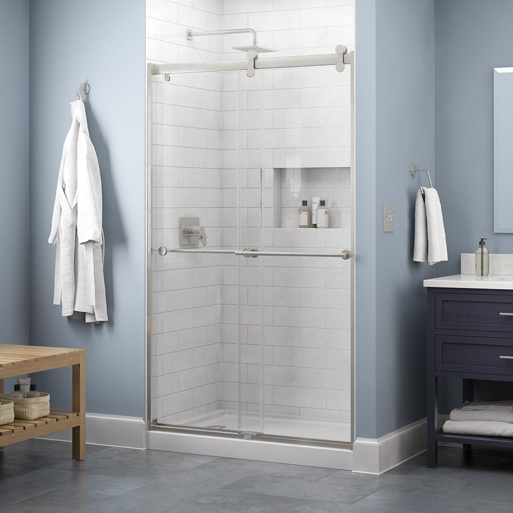 Delta Delta Everly 48 x 71 in. Frameless Contemporary Sliding Shower Door in Nickel with Clear Glass