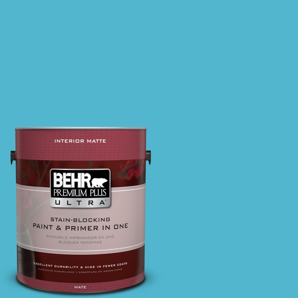 1 gal. #520B-5 Liquid Blue Flat/Matte Interior Paint